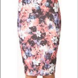 Forever21 Pink Watercolor Floral Bodycon Skirt